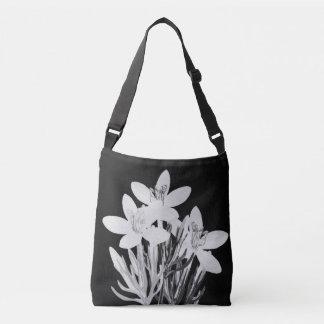 Minimalist Floral B & W Custom Cross Body Bag Tote Bag