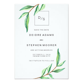 Minimalist Green Leaves on White Save the Date 13 Cm X 18 Cm Invitation Card