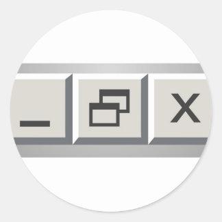 Minimize restore close round sticker