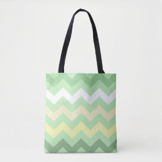 Mint Green Chevron Tote Bag
