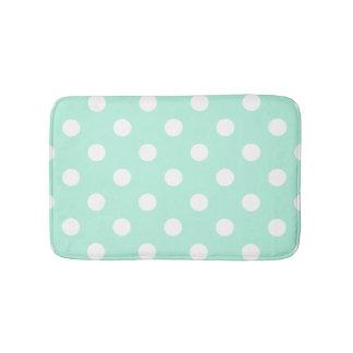 Mint green polka dots bathroom rug bath mats