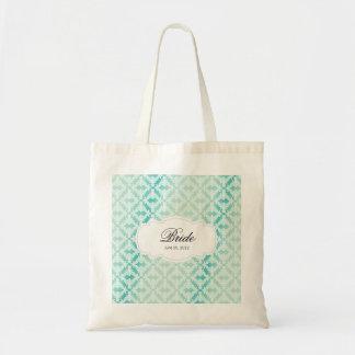 Mint Green & Teal Damask Bride Budget Tote Bag