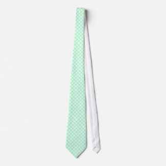 Mint Green & White Gingham Checked Neck Tie