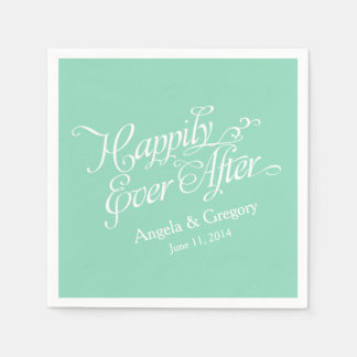 Mint Green White Happily Ever After Wedding Disposable Napkins