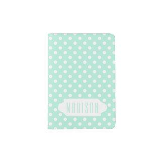 Mint green white polka dots custom passport holder