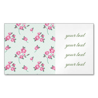 mint,polka dot,roses,shabby chic,pattern,girly,tre magnetic business cards