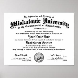 Miskatonic University Diploma -- Type in Your Name Poster