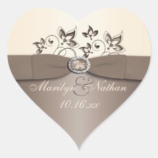Mocha and Ivory Floral Wedding Favor Sticker