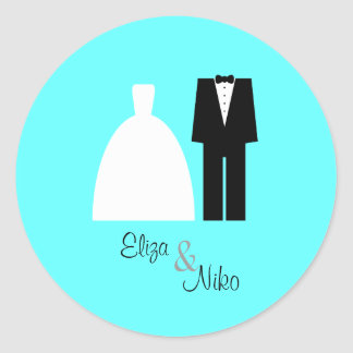 Mod Bride & Groom Seal Sticker