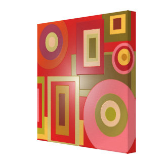 Mod red circles square stretched canvas print
