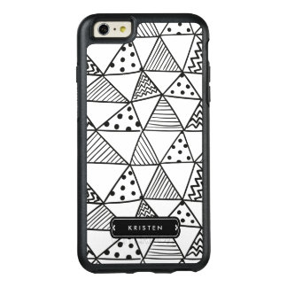 Modern Abstract Handdrawn Doodle Monogram Name OtterBox iPhone 6/6s Plus Case