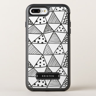 Modern Abstract Handdrawn Doodle Monogram Name OtterBox Symmetry iPhone 7 Plus Case