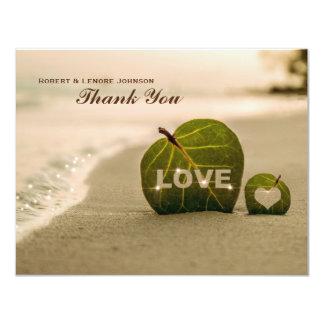 Modern Beach Leaf Love Personalized Thank You Note 11 Cm X 14 Cm Invitation Card