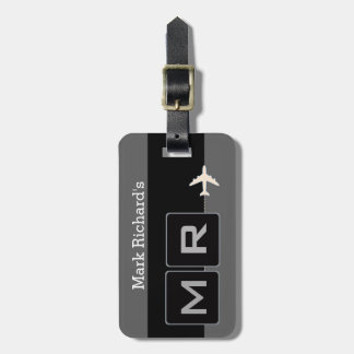 modern black and white airplane travel travel bag tags