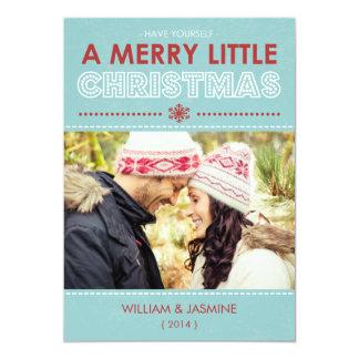 Modern Blue Merry Little Christmas Flat Card 13 Cm X 18 Cm Invitation Card