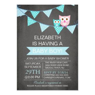 Modern Chalkboard Bunting Owl Boy Baby Shower 13 Cm X 18 Cm Invitation Card