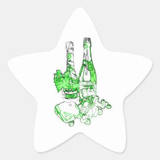 Modern Champagne Art Star Sticker