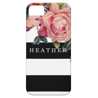 MODERN Chic Wide Stripes w Roses, Save the Date iPhone 5 Case