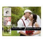 Modern Cursive Wedding Photo Thank You Postcard