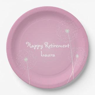 Modern, Dandelion Retirement Party Plates 9 Inch Paper Plate