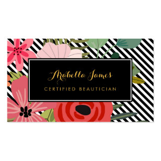 Modern Diagonal Stripes Elegant Floral Beautician Pack Of Standard Business Cards