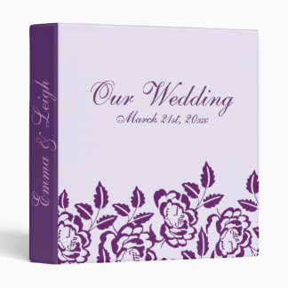 Modern Elegance Purple Rose Wedding Binder