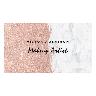Modern faux glitter brushstrokes marble Makeup Pack Of Standard Business Cards