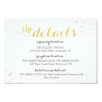 Modern Faux Gold Foil Glamour Information Card 9 Cm X 13 Cm Invitation Card