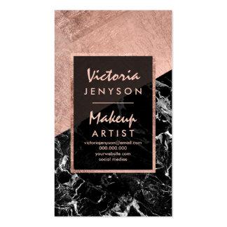 Modern faux rose gold black marble Makeup artist Pack Of Standard Business Cards