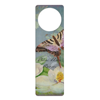 Modern Floral Butterfly w Magnolia Flower Blossom Door Hangers
