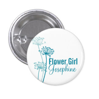 Modern flower cows parsley wedding pin / button