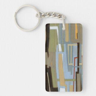 Modern Free Expression Painting by Norman Wyatt Double-Sided Rectangular Acrylic Key Ring