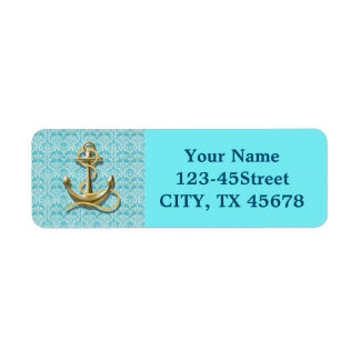 modern girly gold anchor teal damask nautical return address label