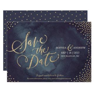 Modern glam gold glitter calligraphy save the date 13 cm x 18 cm invitation card