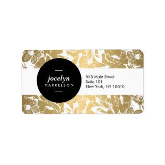 Modern Gold Flowers Black Circle Address Label