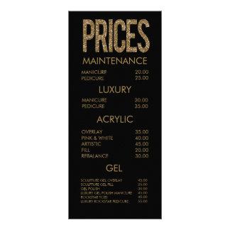 Modern Gold Glitter Typography Salon Menu Cards Rack Card Template
