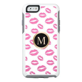 Modern Gold Monogram Pink Lips Kiss Pattern OtterBox iPhone 6/6s Case