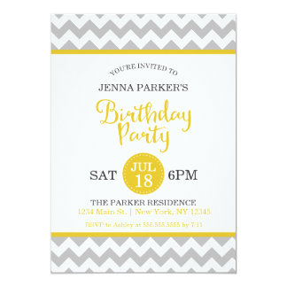 Modern Gray and Yellow Chevron Birthday Party 13 Cm X 18 Cm Invitation Card