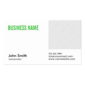 Modern Green Title Interpreter Business Card