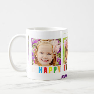 Modern Happy Father's Day Colorful Photo Template Basic White Mug