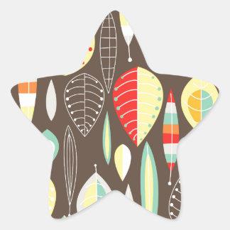 Modern Leaves Star Sticker