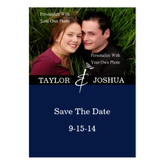 Modern Lines Deep Navy Photo Save The Date #2 Pack Of Chubby Business Cards
