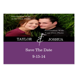 Modern Lines Deep Plum Photo Save The Date Card Pack Of Chubby Business Cards