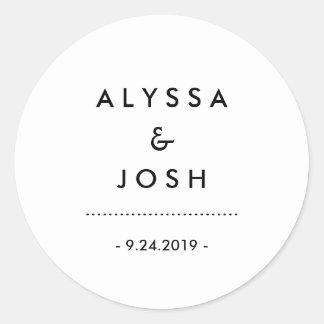 Modern Minimal Black and White Wedding Round Sticker