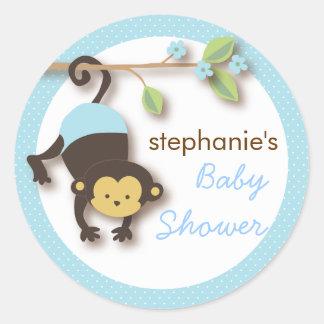 Modern Monkey Sweet Boy Baby Shower in Blue Round Sticker
