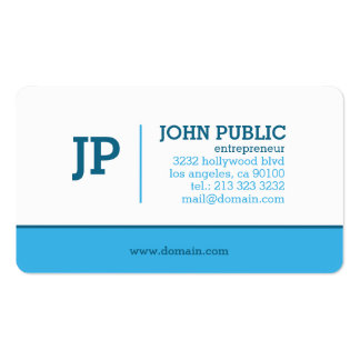 Modern Monogram Blue White Pack Of Standard Business Cards