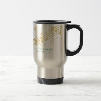 Modern Musical Business Branding Gold Music Notes Stainless Steel Travel Mug