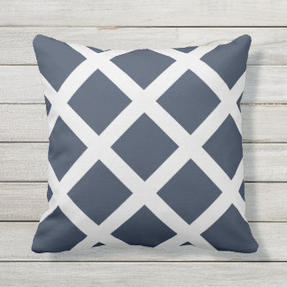 Modern Navy Blue and White Criss Cross Stripes Cushions
