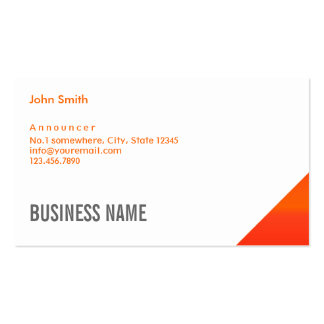 Modern Orange Corner Announcer Business Card