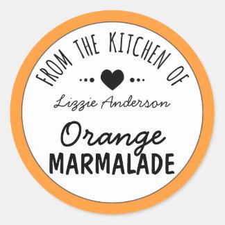 Modern Orange From the Kitchen of Label Round Sticker